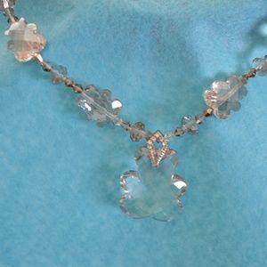 Fun & Elegant Clear Crystal Teddy Bear Necklace